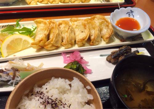 秋田市西武地下内の光琳の大潟村産米粉の揚げ餃子定食